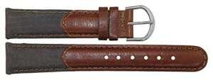 Bracelet pour montre en Cuir Gris foncé – 18mm – – boucle en acier Argenté – B18GreItr15S