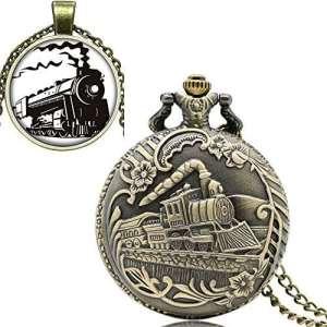 yisuya Full Hunter Bronze Rétro Locomotive Train Avant Tête de montre de poche collier pendentif avec chaîne pour homme Coffret cadeau garçons