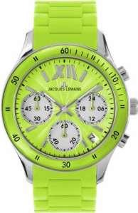 Jacques Lemans – 1-1587F – Montre Femme – Quartz Chronographe – Chronomètre – Bracelet Silicone Vert