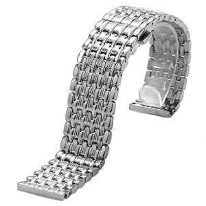 Yisuya Bracelet de montre en acier inoxydable à boucle invisible Argenté 22mm