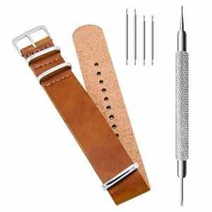 CIVO PU Cuir Bracelet de Montre Mixte NATO Zulu Militaire G10 bande Watch Strap 18mm 20mm 22mm avec TOP Barre d'outils Spring et Bars Spring Bonus (Brown, 20mm)