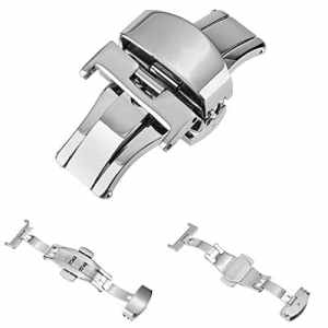 Beauty7 Boucle Deployante Argente Polissage 14mm – 22mm Fermoir en Acier Remplacement Pour Bracelet Montre Bande de Poignet Largeur 4cm Boucle Wrist Watch Strap