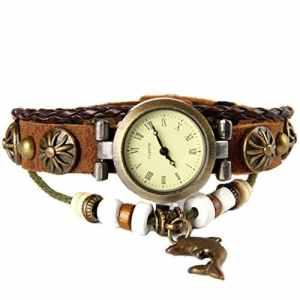 GSPStyle Montre bracelet de poignet en cuir – Tournesol – Dauphins de bronze – marron
