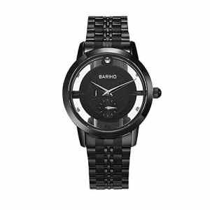ShBi® Hommes creux imperméable Business Watch Bracelet en acier inoxydable Quartz , black