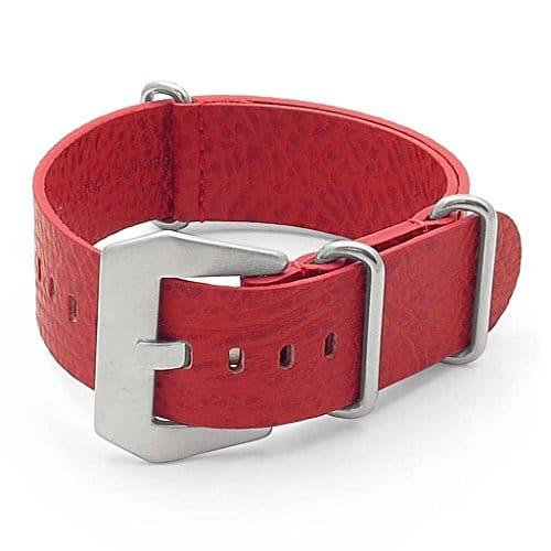 Dassari béton Rouge Cuir italien Nato Zulu Bracelet de montre 20mm