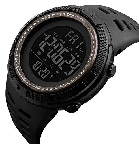 Montre Digitale Homme Etanche 50 M avec LED Montre Sports Enfant en Forme de 12 ou 24h avec Alarme Chronomètre Couleur Noir et Café