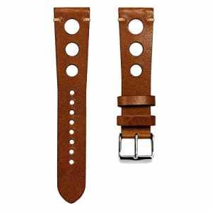 Bracelet de montre Geckota cuir véritable Rallye, Marron, Poli, 20mm