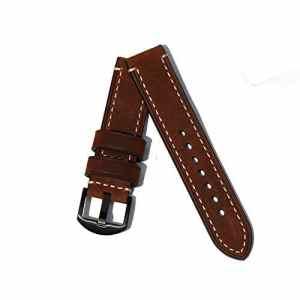 Bracelet de montre avec bracelet en cuir pour hommes Bracelet de remplacement en acier brossé pour une variété de montres traditionnelles Regarder les Accessoires 22MM