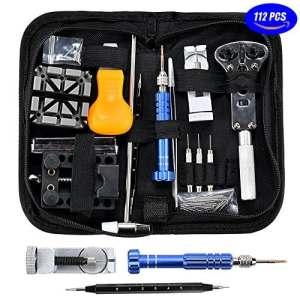Outils de Montre Réparation D'horlogerie – 112pcs Kit Réparation Montre Outils Professionnel Pour Montre Ensemble Lien Ouvrir Ajuster Table Arrière