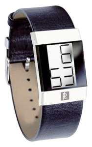 Pierre Lannier – 235A403 – Montre Homme – Acier Chromé – Quartz Digitale – affichage Noir – Cadran gris – Bracelet Cuir Noir