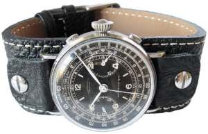19mm Fluco Vigo riveté Cuir Noir Cuff Bracelet de montre