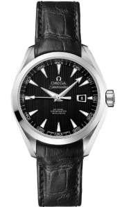 Aqua Terra Cadran noir cuir noir montre pour femme