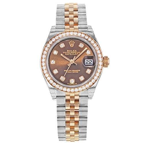 Rolex Datejust 279381Diamant en Acier Cadran Marron Or Rose Automatique Montre pour Femme