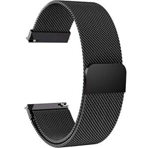 Fullmosa 14mm 16mm 18mm 19mm 20mm 22mm 24mm Bracelet Montre Milanais pour Homme/Femme, 6 Couleurs Smart Watch Bracelet Dégagement Rapide avec Fermeture Magnétique,24mm Noir