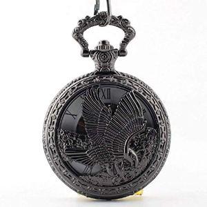 Anaw Montre à Gousset rétro avec Cadran et boîtier en Bronze avec Deux chaînes en Cuir et métal