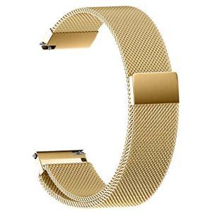 Bracelet milanais en Acier Inoxydable avec Boucle magnétique, Bandes de Fixation Rapide, Bande de Remplacement pour Sangles 14mm, 16mm, 18mm, 20mm, 22mm (Or, 18 mm)