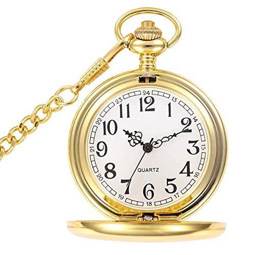 BestFire lisse Vintage montre de poche montre de poche à quartz classique FOB montre avec chaîne courte pour hommes femmes – boîte-cadeau (Or)