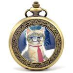 Infinite U Rétro Chat/Chaton/Kitty avec Cravate et Lunettes Chiffres Romains Montre de Poche Mécanique