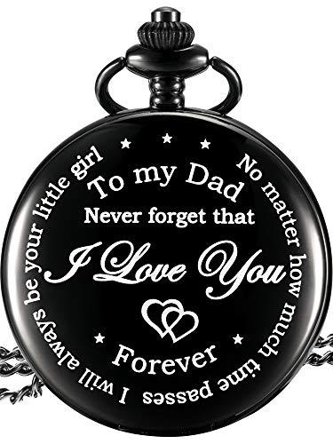 Cadeau du Père de la Fille au Père Montre de Poche Gravée – No Matter How Much Time Passes, I Will Always Be Your Little Girl (Noir)