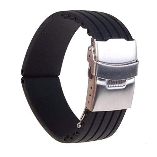 Bracelets de Montre, Bracelets de Montre 18mm / 20mm / 22mm / 24mm Reloj Hombre en Caoutchouc de Silicone Bracelet de Montre Boucle de déploiement Bande étanche Femmes Montres Accessoires ####
