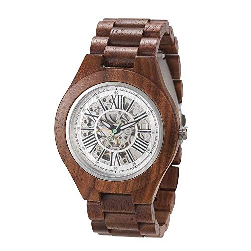 Detazhi Mécanique en Bois ajourées régleur Watch, Quartz, 30 m imperméable, Cadeau Petit ami, boîte-Cadeau et Ceinture A + (Couleur: T9006G-3) (Color : T9006g4)