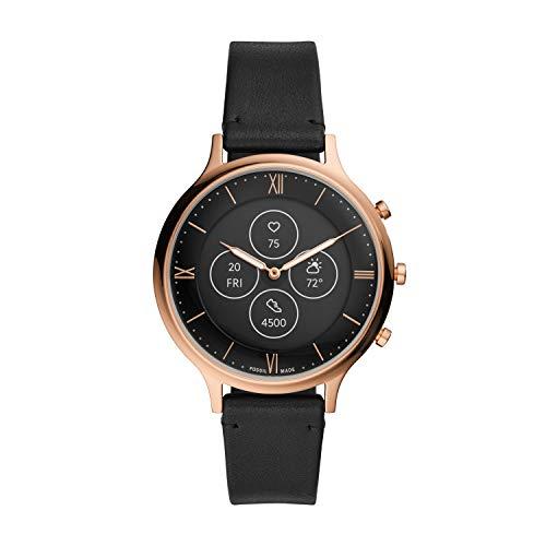 Fossil Hybrid Smartwatch HR Charter avec Bracelet en Cuir Noir pour Femme FTW7011
