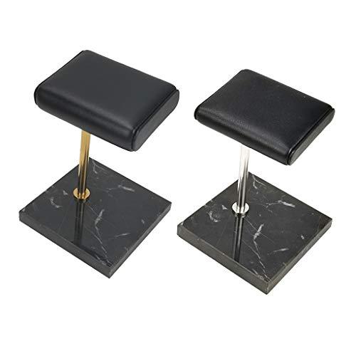 CUTICATE 2pcs Base en Marbre Noir Montre Présentoir Bijoux Bracelets Titulaire Coussin en PU