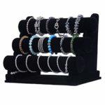 Fuyamp – Collier en velours noir à 3 niveaux – Présentoir de bijoux – Organiseur de montre – Présentoir de montre – Bracelet en velours – Pour collier, bijoux