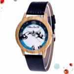 ibasenice Noël Cerf Montre Noël Wapiti Dessin Animé Montre-Bracelet Noël Hiver Vacances Poignet Bijoux Bracelet Bracelet pour Étudiants Garçons Cadeaux Saisonniers Noir