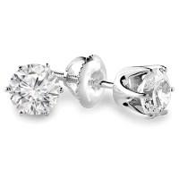 .22 CTW VS2 G ROUND DIAMOND STUD EARRINGS 14K WHITE GOLD ...