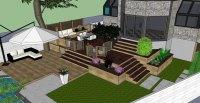 Hampstead Backyard Patio & Terrace 3D Visualization ...