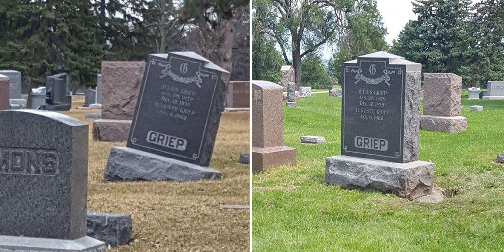 cemetery stone re-leveling in the Norfolk, Nebraska area