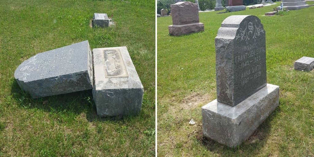 reset headstone monuments in cemetery, Norfolk, Nebraska