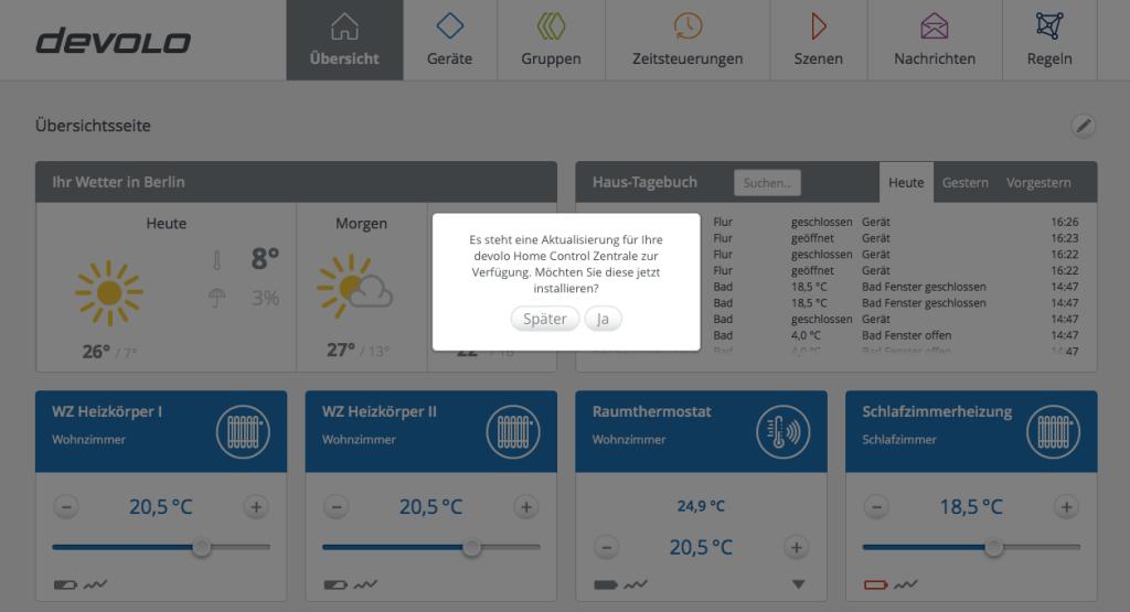 Das Update der Devolo Home Control Zentrale wird einem direkt nach der Anmeldung unter mydevolo.de in seinem Kundenkonto angezeigt. (Screenshot: moobilux.com)