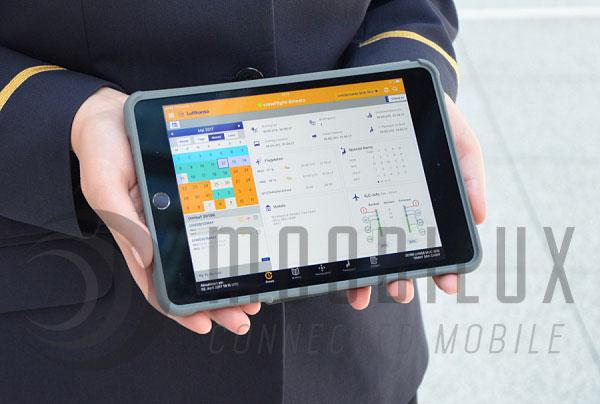 """Alle Tablets sind mit der App """"Lufthansa crewFlight"""" ausgestattet. (Foto: Lufthansa)"""