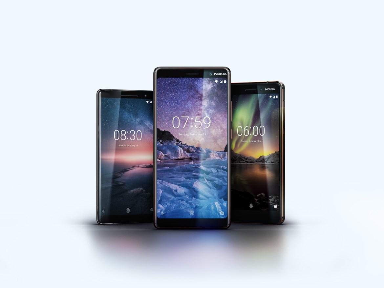 Die neuen Nokia Smartphones Nokia 6, 7 Plus und das Nokia 8 Sirocco. (Bild: Nokia)