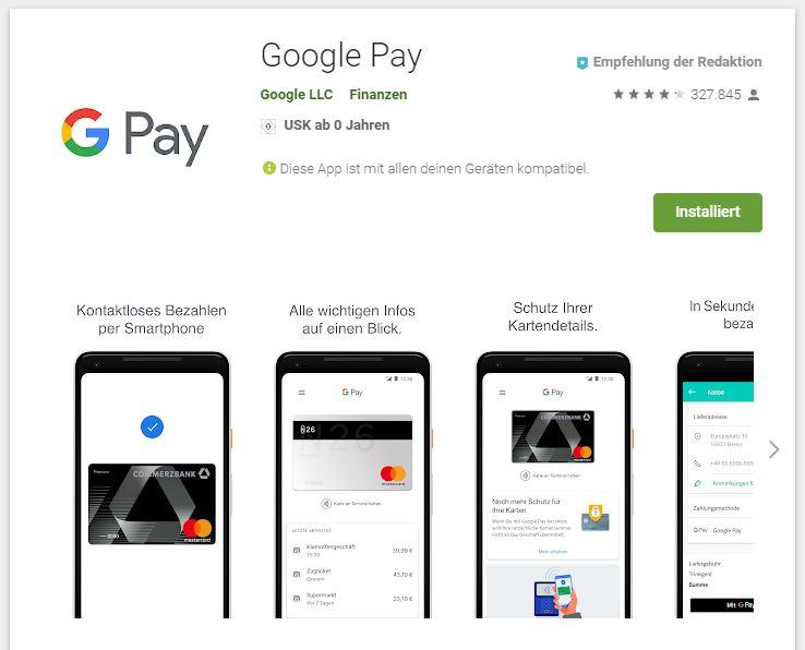 Google Pay offiziell in Deutschland gestartet. (Screenshot: moobilux.com)
