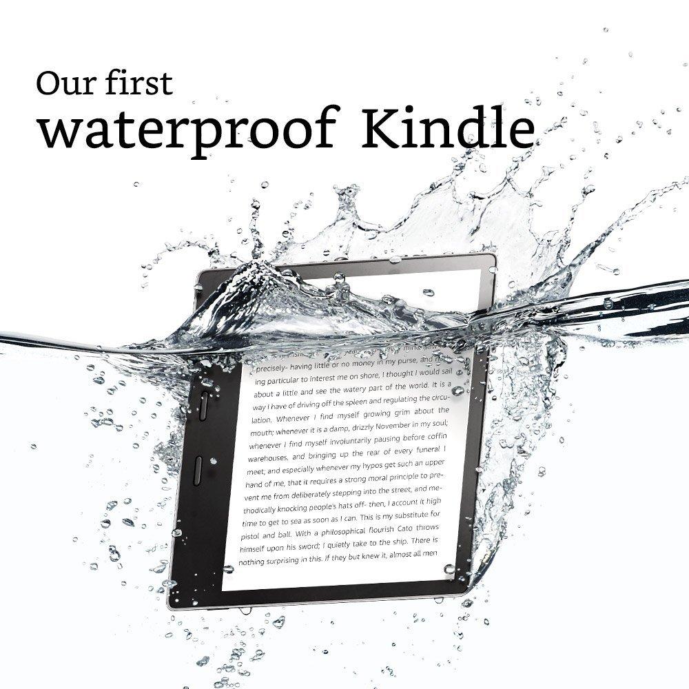 Der Kindle Oasis E-Reader ist Staub- und Wasser resistent. (Bild: Amazon)