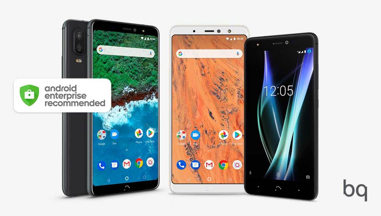 Das bq Aquaris X2 Pro, Aquaris X2 und Aquaris X Pro sind die ersten europäischen Smartphones, die von Googles Android Enterprise Recommended Programms anerkannt wurden. (Bild: bq)
