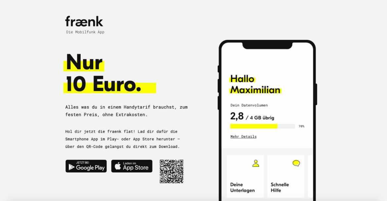 Die Telekom startet neue Mobilfunkmarke Fraenk mit nur einem Tarif. (Screenshot: moobilux.com)