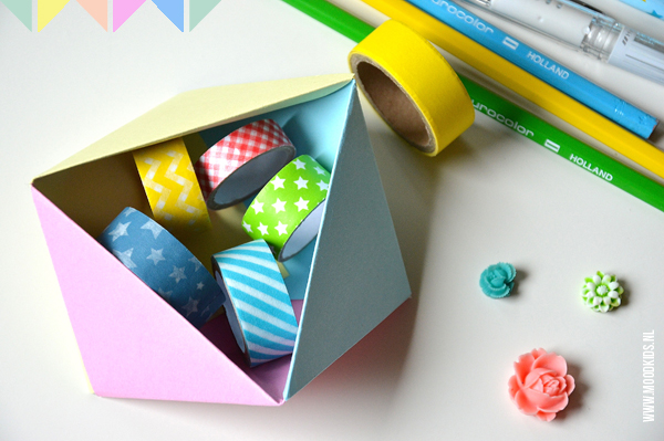 Geometrisch origami doosje vouwen