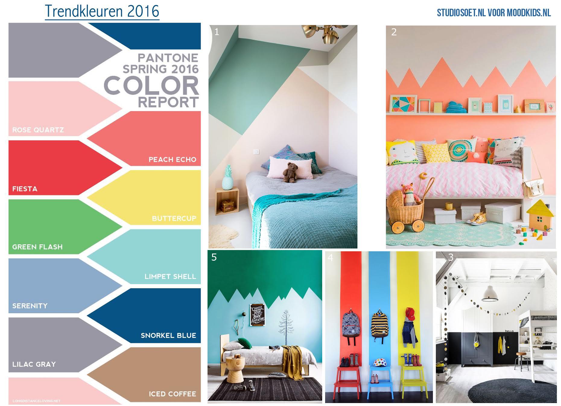Verf inspiratie kinderkamer en de trendkleuren van 2016