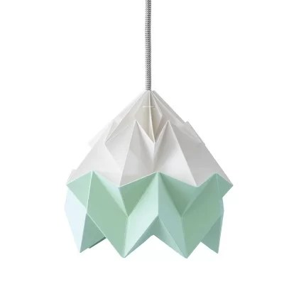 suspension origami en papier moth blanc vert menthe