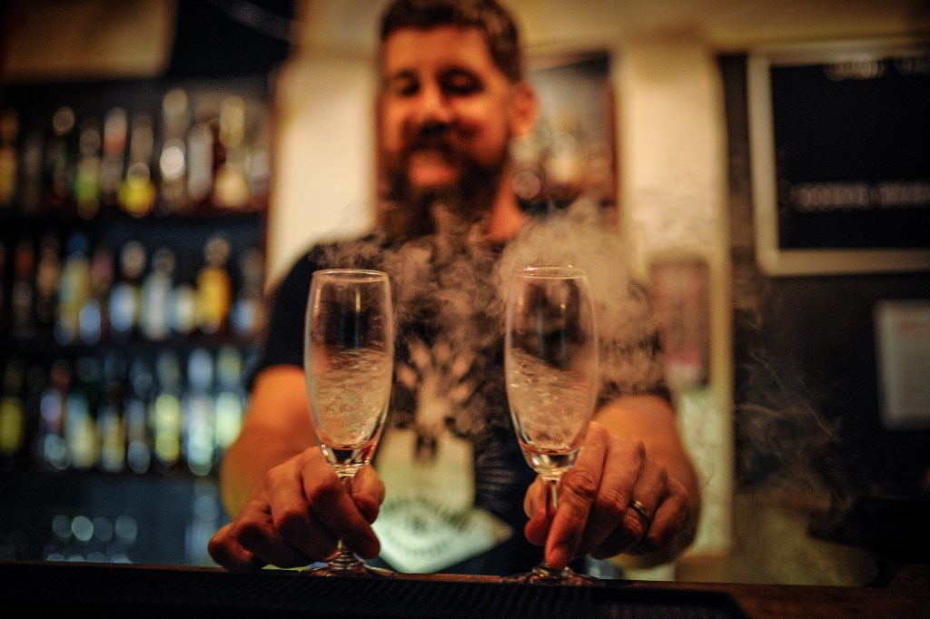 Join the Mood Therapist at The Republic - chills champagne flutes with liquid nitrogen