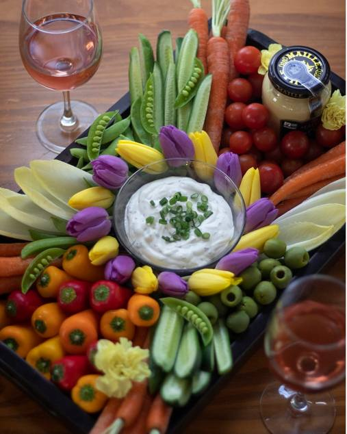Spring Crudités with Mustard Herb Dip