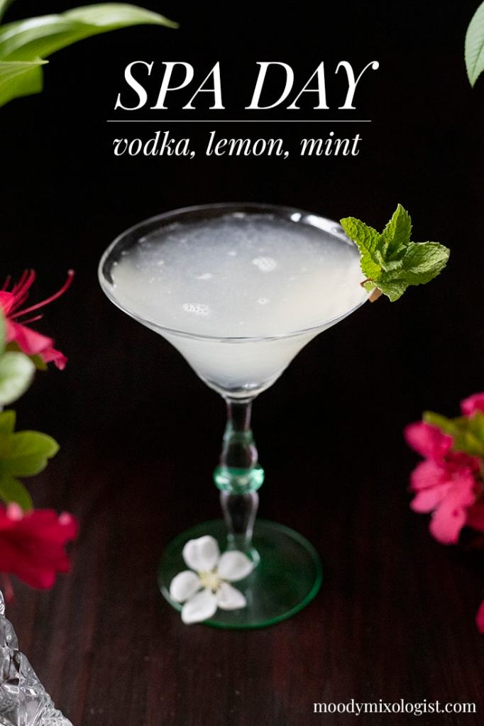 martini glass with lightly frothy white cocktail garnished with mint and text on the top reading Spa Day, vodka, lemon, mint