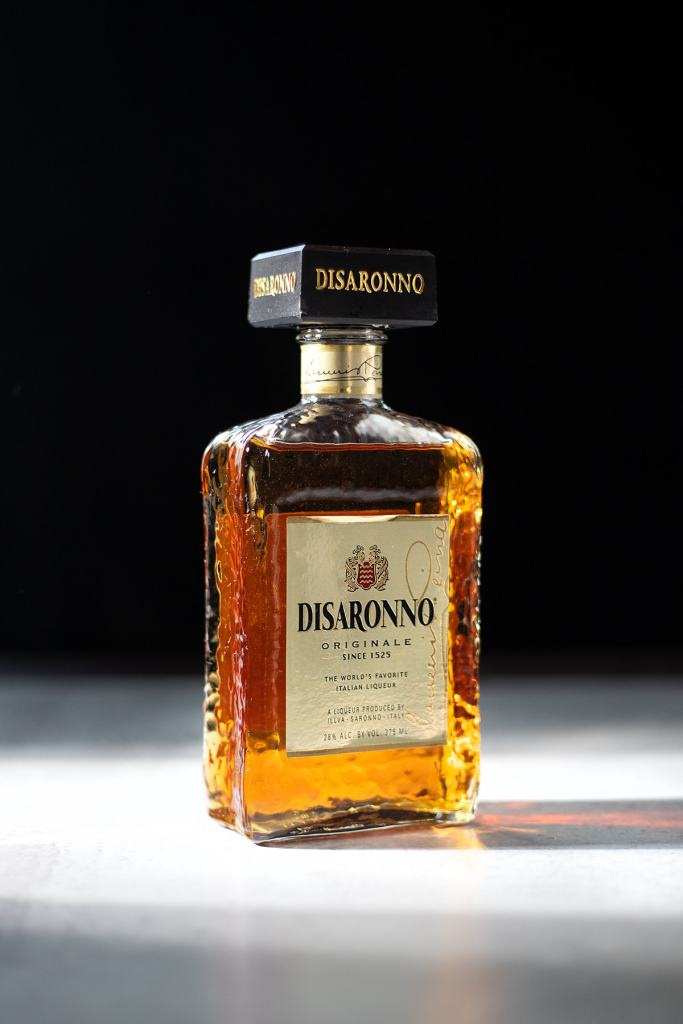 a bottle of Disaronno Amaretto Liqueur.