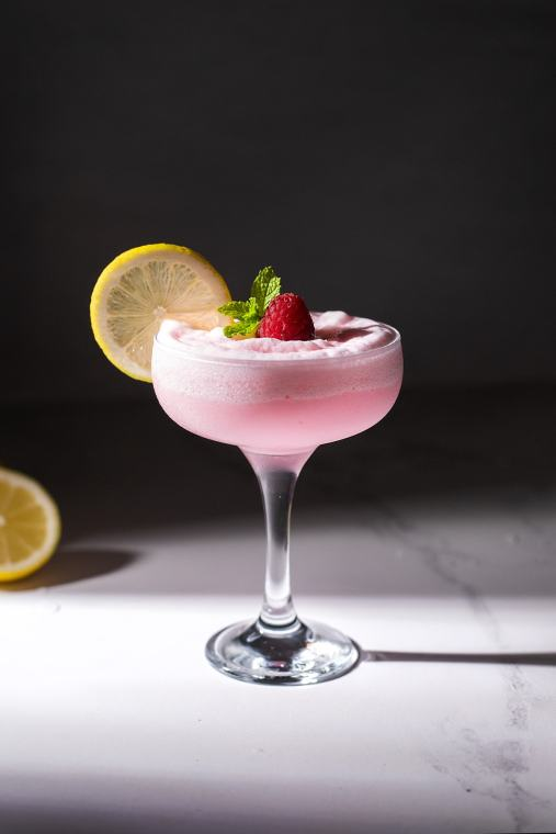 Whipped Pink Lemonade Cocktail with Raspberry and Ginger
