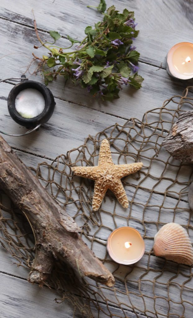 Sea witch altar for witchcraft using the Element of Water in spells.