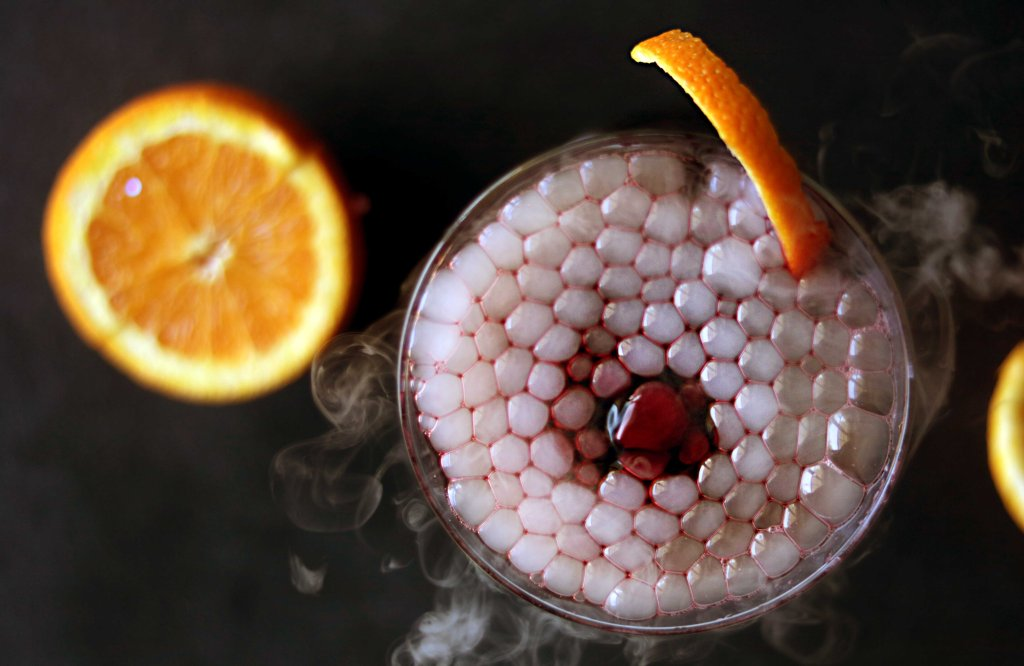 Samhain bloody witch's brew martini cocktail.